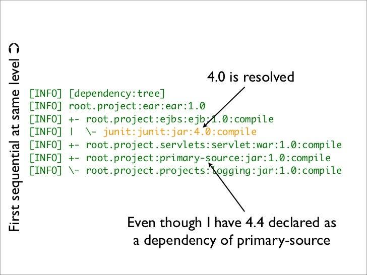 <*Management>  ‣ <dependencyManagement>  ‣ Inheritance for dependency versions. ‣ <pluginManagement>  ‣ Inheritance for pl...