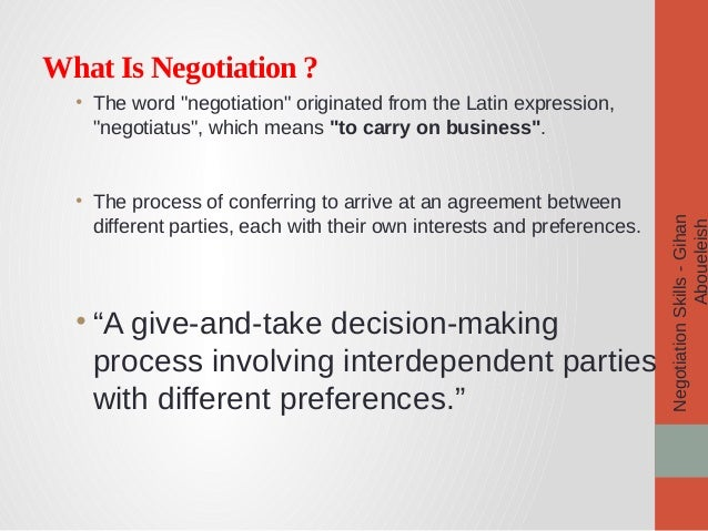 Negotiation skills