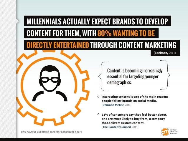 HOW CONTENT MARKETING ADDRESSES CONSUMER GOALS MILLENNIALS ACTUALLY EXPECT BRANDS TO DEVELOP CONTENT FOR THEM, WITH 80% WA...