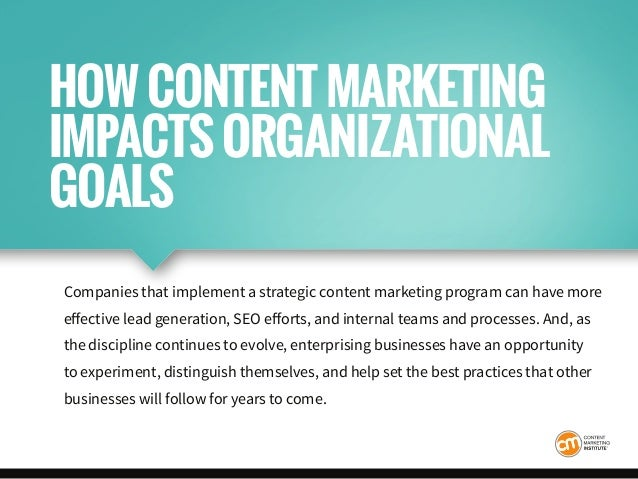 Companies that implement a strategic content marketing program can have more effective lead generation, SEO efforts, and i...