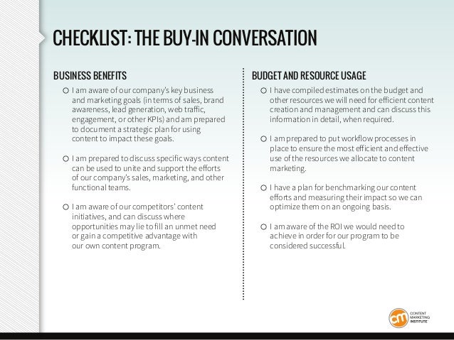CHECKLIST: THE BUY-IN CONVERSATION BUSINESS BENEFITS ○ I am aware of our company's key business and marketing goals (in te...