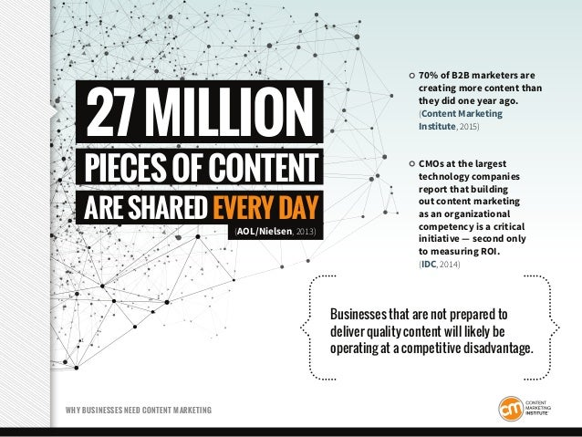 70% of B2B marketers are creating more content than they did one year ago. (Content Marketing Institute, 2015) CMOs at the...