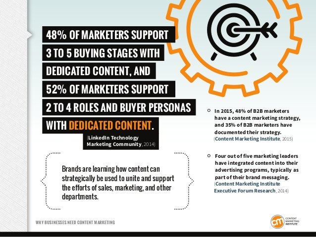 In 2015, 48% of B2B marketers have a content marketing strategy, and 35% of B2B marketers have documented their strategy. ...