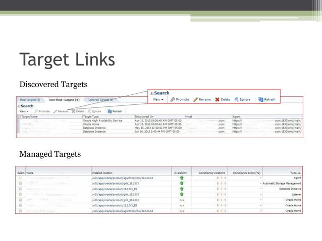 Target Links Discovered Targets  Managed Targets