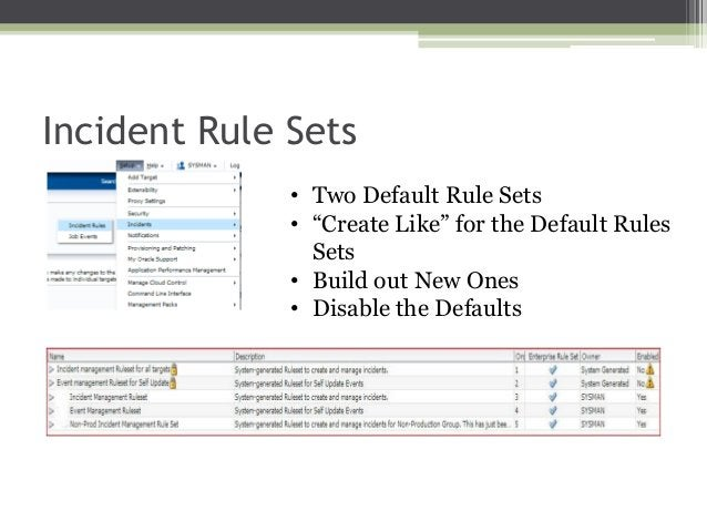 """Incident Rule Sets • Two Default Rule Sets • """"Create Like"""" for the Default Rules Sets • Build out New Ones • Disable the D..."""