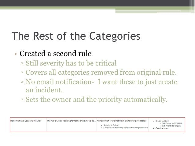 The Rest of the Categories • Created a second rule ▫ Still severity has to be critical ▫ Covers all categories removed fro...