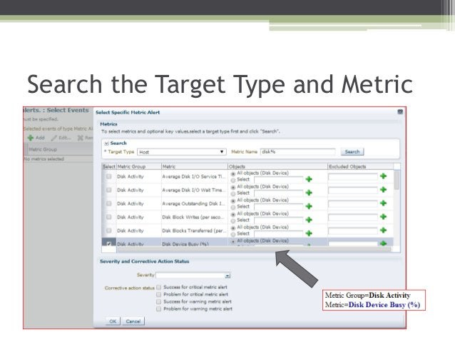 Search the Target Type and Metric