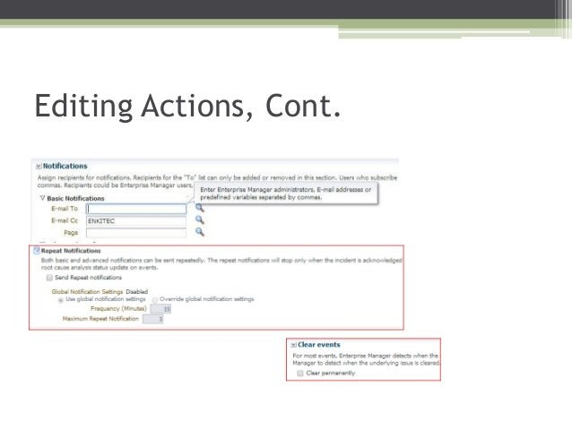 Editing Actions, Cont.
