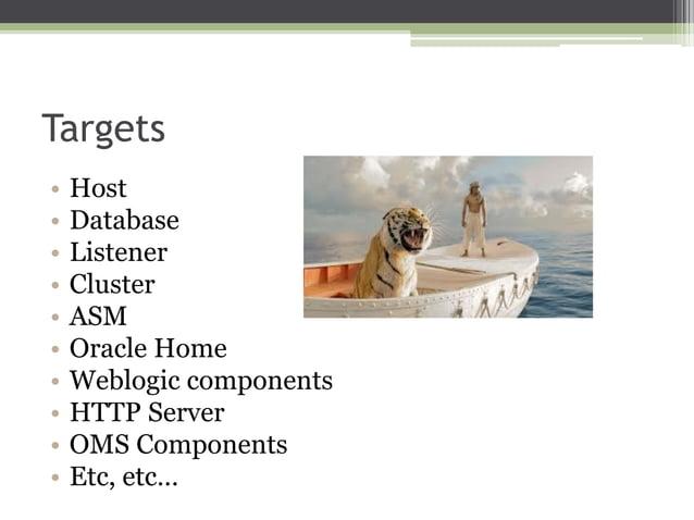 Targets • • • • • • • • • •  Host Database Listener Cluster ASM Oracle Home Weblogic components HTTP Server OMS Components...
