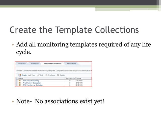 Create the Template Collections • Add all monitoring templates required of any life cycle.  • Note- No associations exist ...