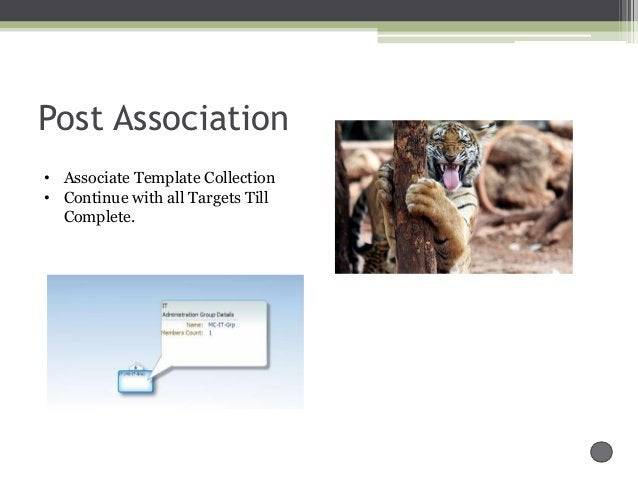 Post Association • Associate Template Collection • Continue with all Targets Till Complete.