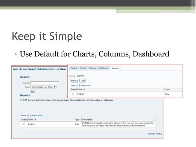 Keep it Simple • Use Default for Charts, Columns, Dashboard