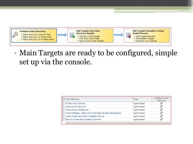 • Main Targets are ready to be configured, simple set up via the console.