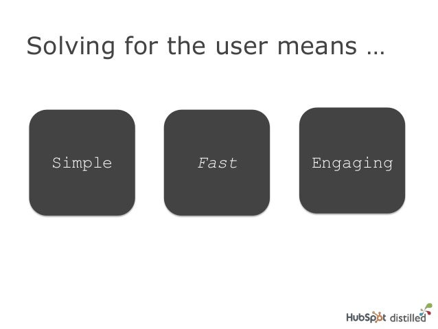 Solving for the user means …Simple Fast Engaging