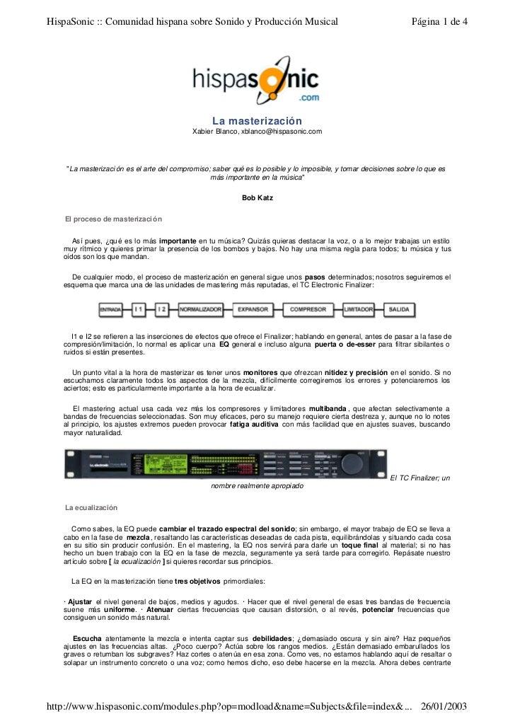 HispaSonic :: Comunidad hispana sobre Sonido y Producción Musical                                                  Página ...