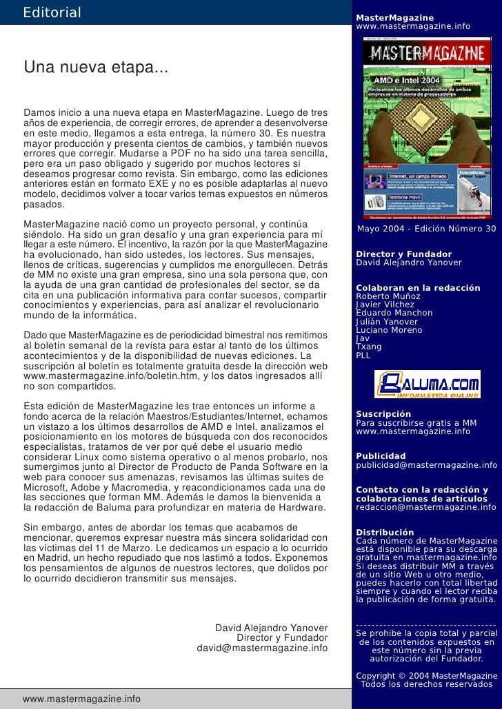 Editorial                                                                MasterMagazine                                   ...