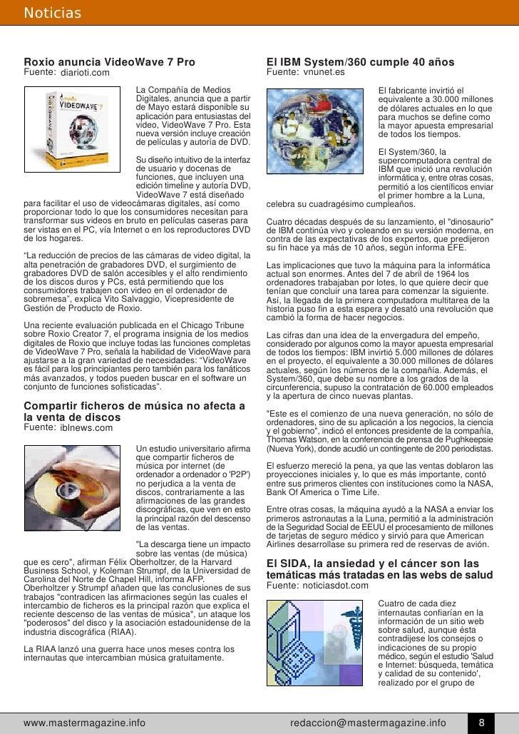 Noticias   Roxio anuncia VideoWave 7 Pro                                       El IBM System/360 cumple 40 años           ...