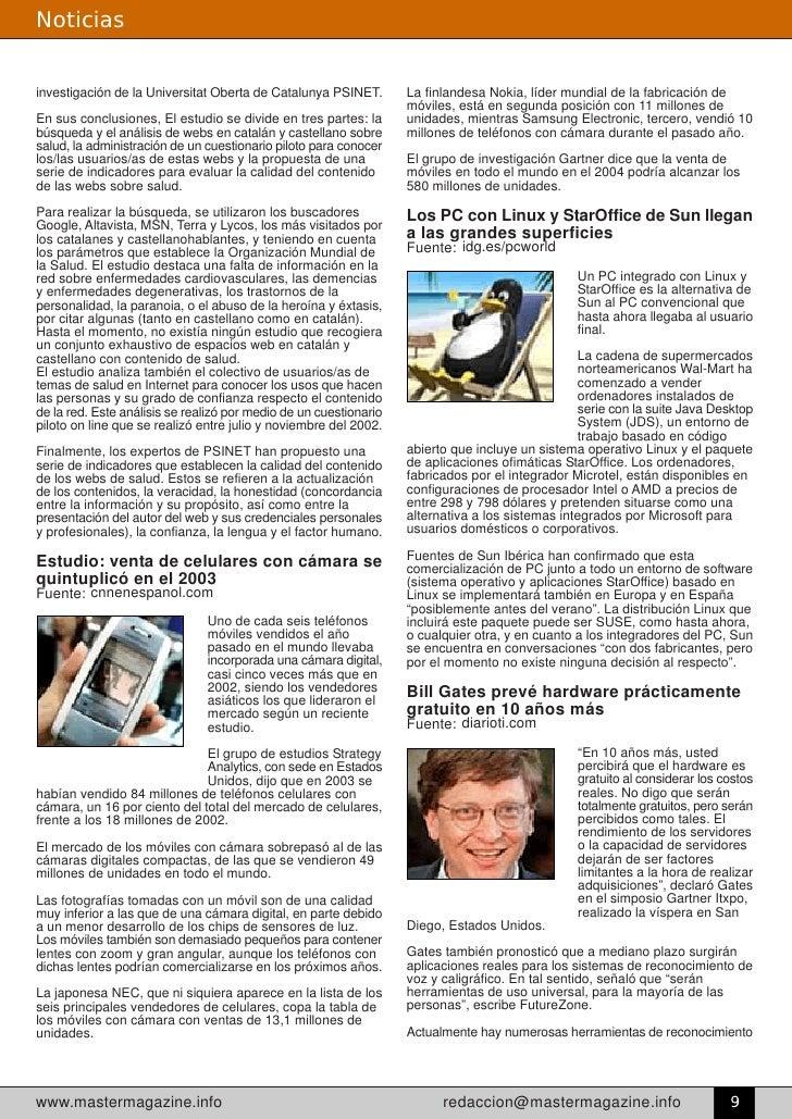 Noticias   investigación de la Universitat Oberta de Catalunya PSINET.        La finlandesa Nokia, líder mundial de la fab...