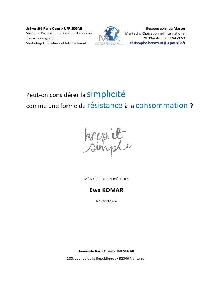 Université Paris Ouest- UFR SEGMI                                    Responsable du Master Master 2 Professionnel Gestion-...