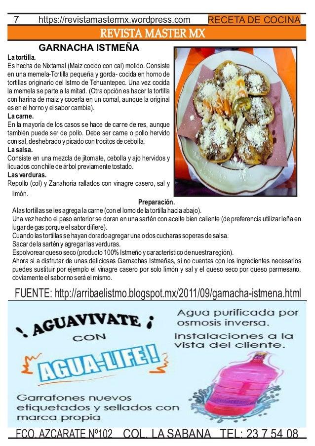 REVISTA MASTER MX 7 TEL: 23 7 54 08FCO. AZCARATE Nº102 COL. LA SABANA RECETA DE COCINAhttps://revistamastermx.wordpress.co...