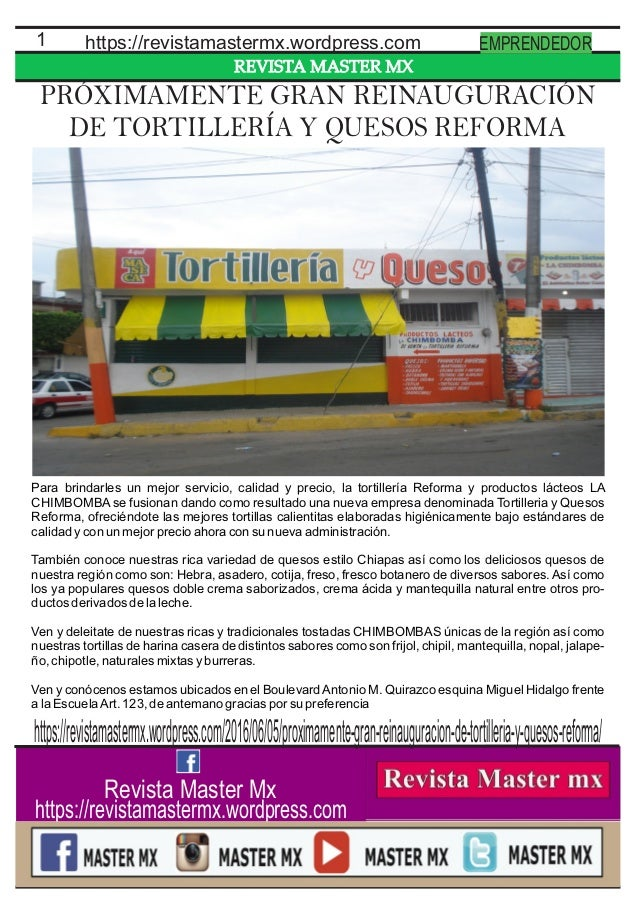 REVISTA MASTER MX 1 https://revistamastermx.wordpress.com EMPRENDEDOR Revista Master Mx https://revistamastermx.wordpress....