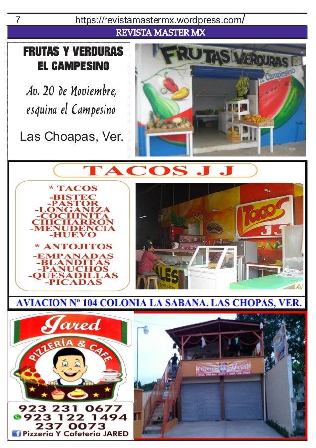 REVISTA MASTER MX 7 https://revistamastermx.wordpress.com/ FRUTAS Y VERDURAS EL CAMPESINO Av. 20 de Noviembre, esquina el ...