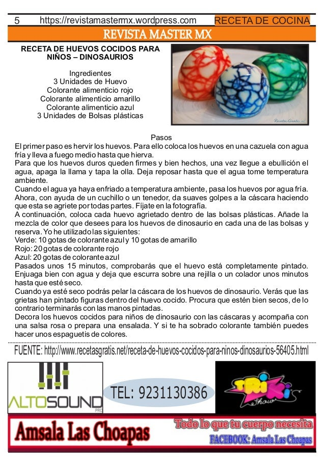 REVISTA MASTER MX 5 RECETA DE COCINAhttps://revistamastermx.wordpress.com RECETA DE HUEVOS COCIDOS PARA NIÑOS – DINOSAURIO...