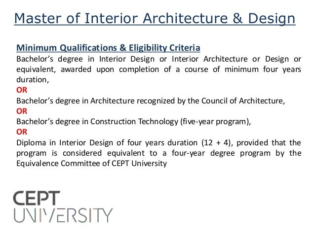 CEPT University Admissions 2015 Faculty Of Architecture 2 Master Interior Design