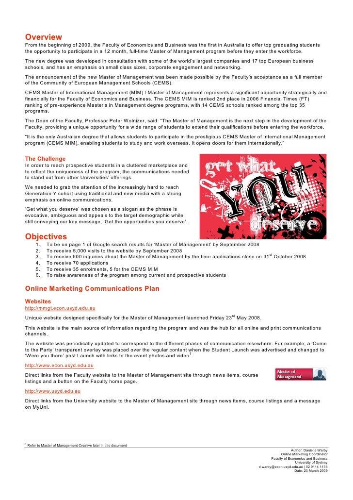 University of sydney master of management case study danielle warby toneelgroepblik Gallery