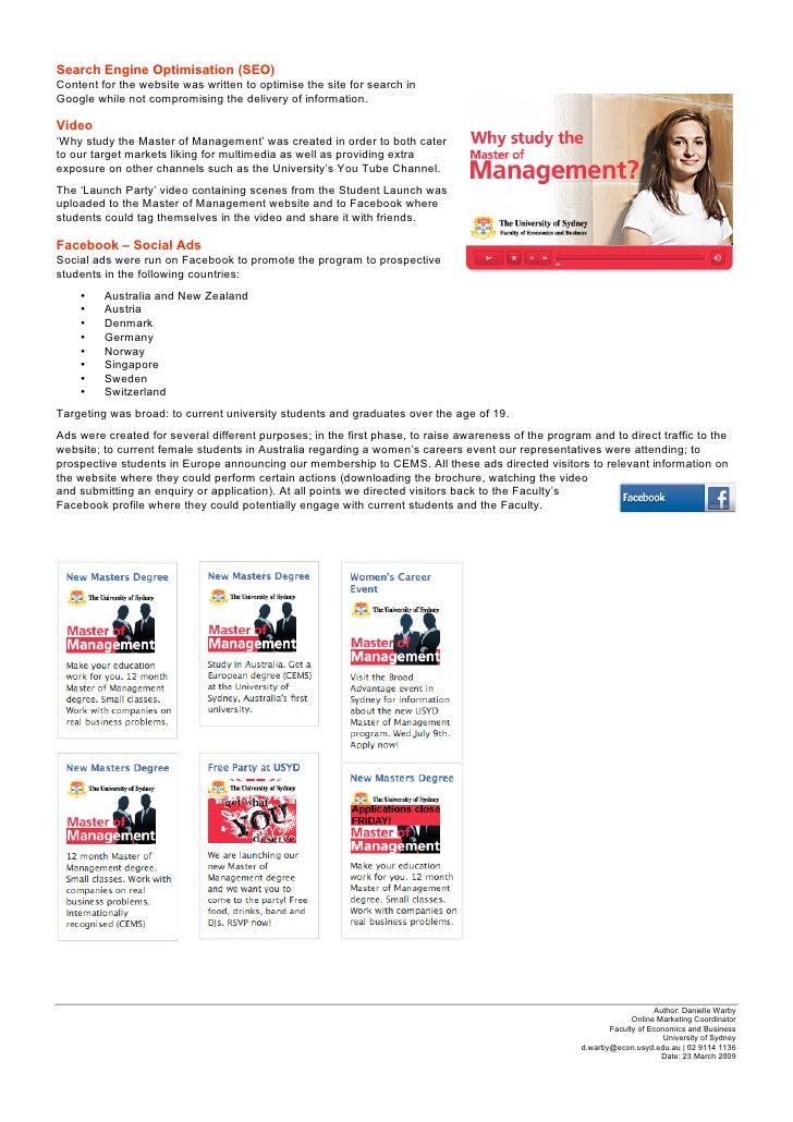 University of sydney master of management case study danielle warby 3 toneelgroepblik Gallery