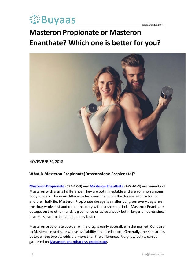 Masteron propionate or masteron enanthate which one is