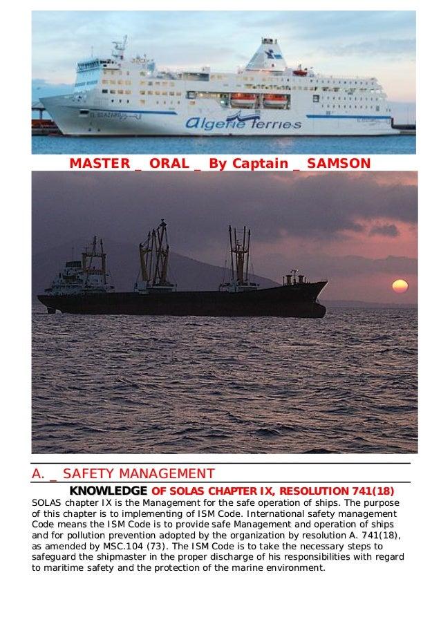 MASTER _ ORAL _ By Captain _ SAMSON AA.. __ SSAAFFEETTYY MMAANNAAGGEEMMEENNTT KKNNOOWWLLEEDDGGEE OOFF SSOOLLAASS CCHHAAPPT...