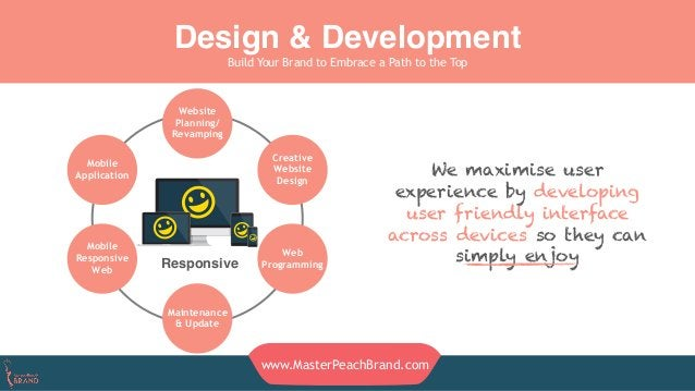 Design & Development Build Your Brand to Embrace a Path to the Top www.MasterPeachBrand.com We maximise user experience by...