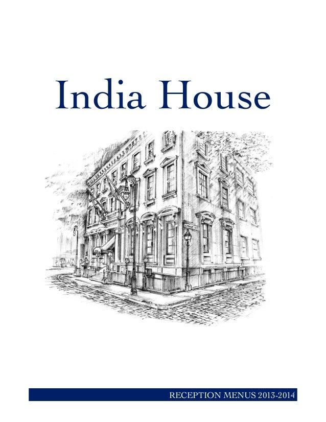 India House RECEPTION MENUS 2013-2014
