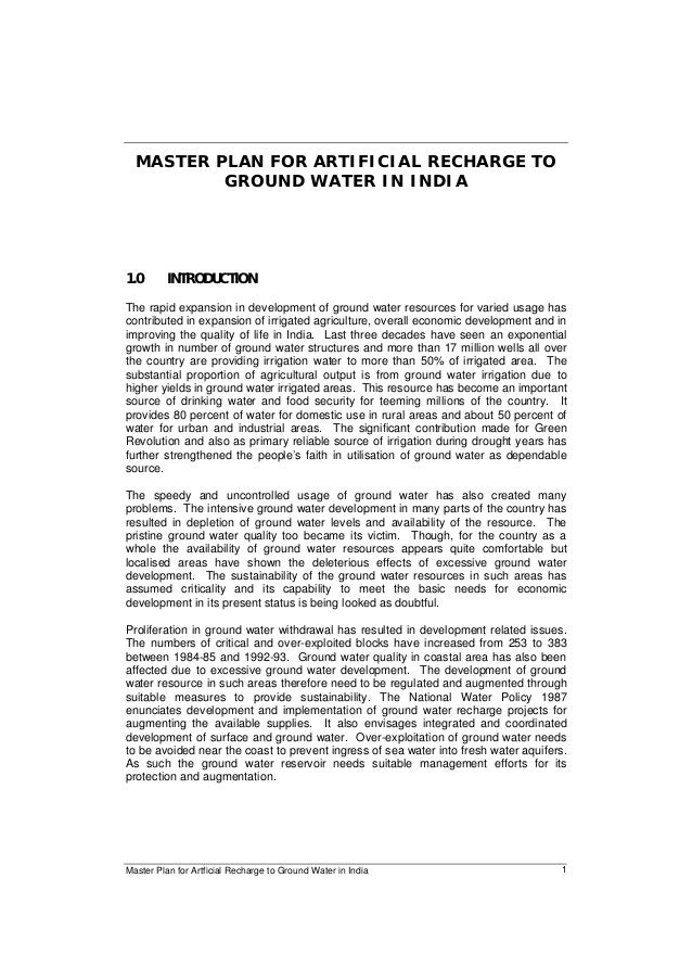 Master Plan for Artficial Recharge to Ground Water in India 1 MASTER PLAN FOR ARTIFICIAL RECHARGE TO GROUND WATER IN INDIA...