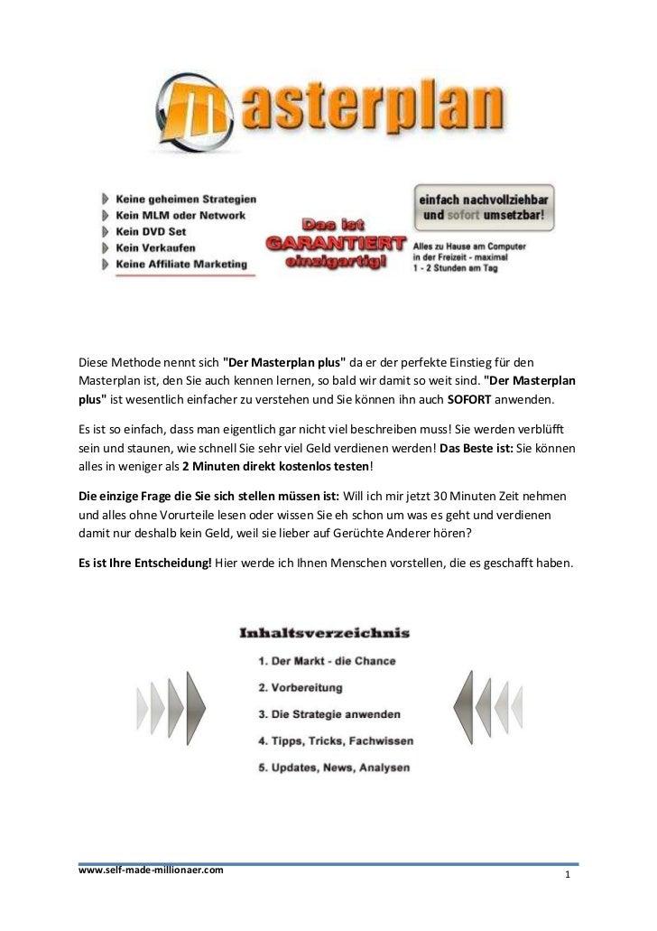 """Diese Methode nennt sich """"Der Masterplan plus"""" da er der perfekte Einstieg für denMasterplan ist, den Sie auch kennen lern..."""
