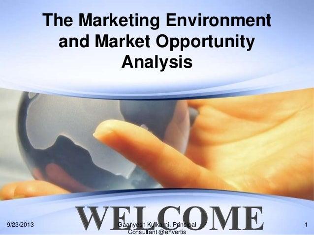 The Marketing Environment and Market Opportunity Analysis 9/23/2013 1Gaanyesh Kulkarni, Principal Consultant @envertis