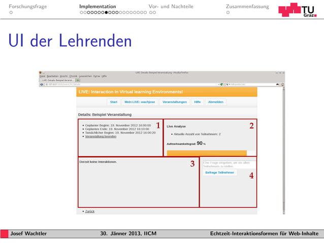 Forschungsfrage   Implementation           Vor- und Nachteile         ZusammenfassungUI der LehrendenJosef Wachtler       ...