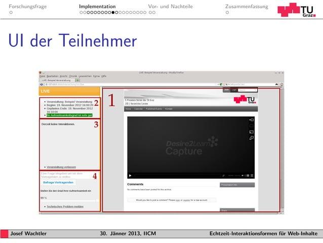 Forschungsfrage   Implementation           Vor- und Nachteile         ZusammenfassungUI der TeilnehmerJosef Wachtler      ...