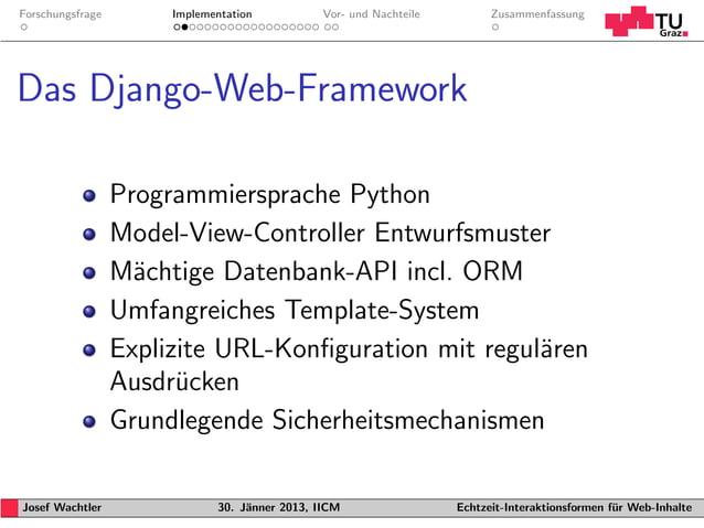 Forschungsfrage        Implementation           Vor- und Nachteile         ZusammenfassungDas Django-Web-Framework        ...