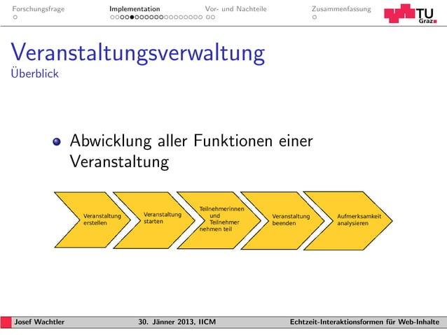 Forschungsfrage        Implementation           Vor- und Nachteile         ZusammenfassungVeranstaltungsverwaltung¨Uberbli...