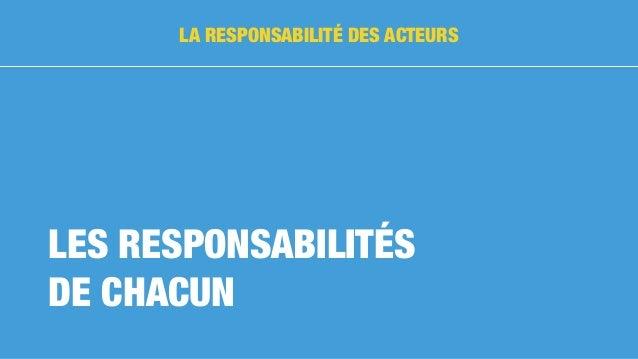 LES RESPONSABILITÉS DE CHACUN LA RESPONSABILITÉ DES ACTEURS