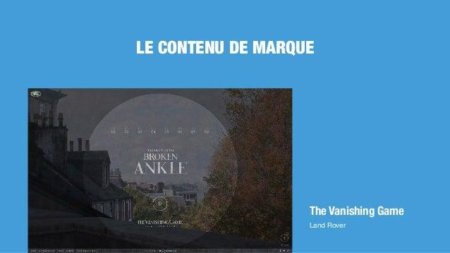 The Vanishing Game Land Rover LE CONTENU DE MARQUE