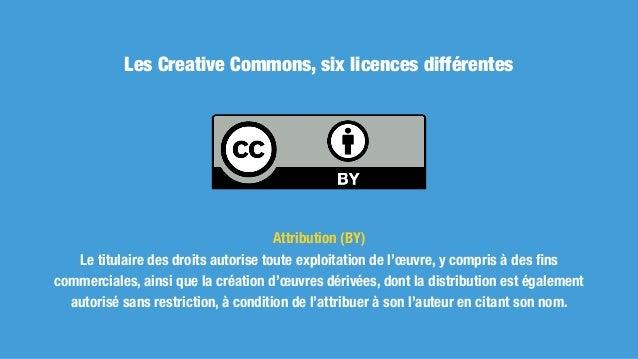 Les Creative Commons, six licences différentes Attribution + Pas de Modification (BY ND) Le titulaire des droits autorise t...