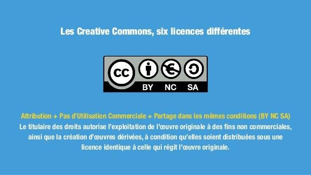 Les Creative Commons, six licences différentes Attribution + Partage dans les mêmes conditions (BY SA) Le titulaire des dr...