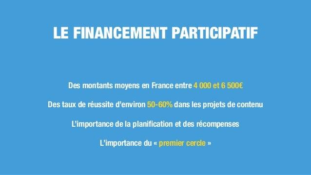 LE FINANCEMENT PARTICIPATIF Des montants moyens en France entre 4 000 et 6 500€ Des taux de réussite d'environ 50-60% dans...