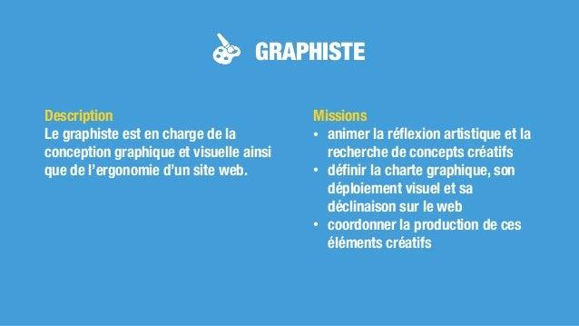 GRAPHISTE Missions • animer la réflexion artistique et la recherche de concepts créatifs • définir la charte graphique, son ...