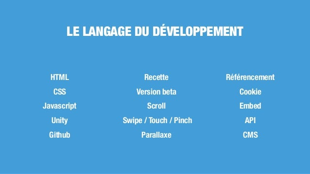 HTML CSS Javascript Unity Github Recette Version beta Scroll Swipe / Touch / Pinch Parallaxe Référencement Cookie Embed AP...