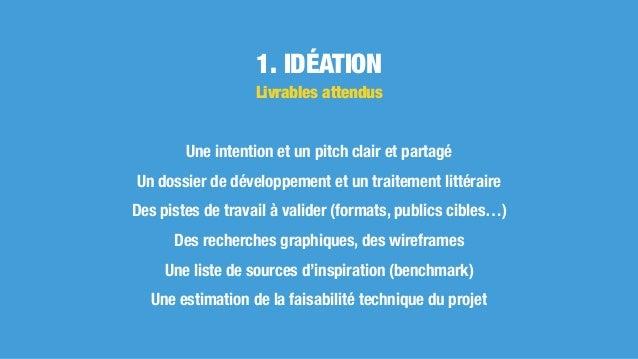 1. IDÉATION Une intention et un pitch clair et partagé Un dossier de développement et un traitement littéraire Des pistes ...