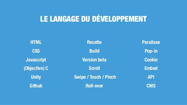 HTML CSS Javascript (Objective) C Unity Github Recette Build Version beta Scroll Swipe / Touch / Pinch Roll-over Parallaxe...